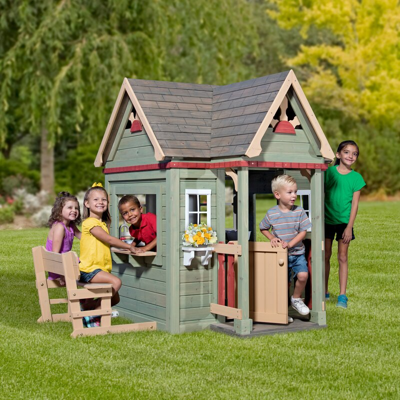 backyard discovery victorian inn 74 x 65 playhouse reviews wayfair rh wayfair com backyard playhouse with slide backyard playhouse with slide