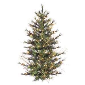 mixed country pine wall 4 green pine artificial hanging christmas tree with 150 clear lights - Wall Hanging Christmas Tree