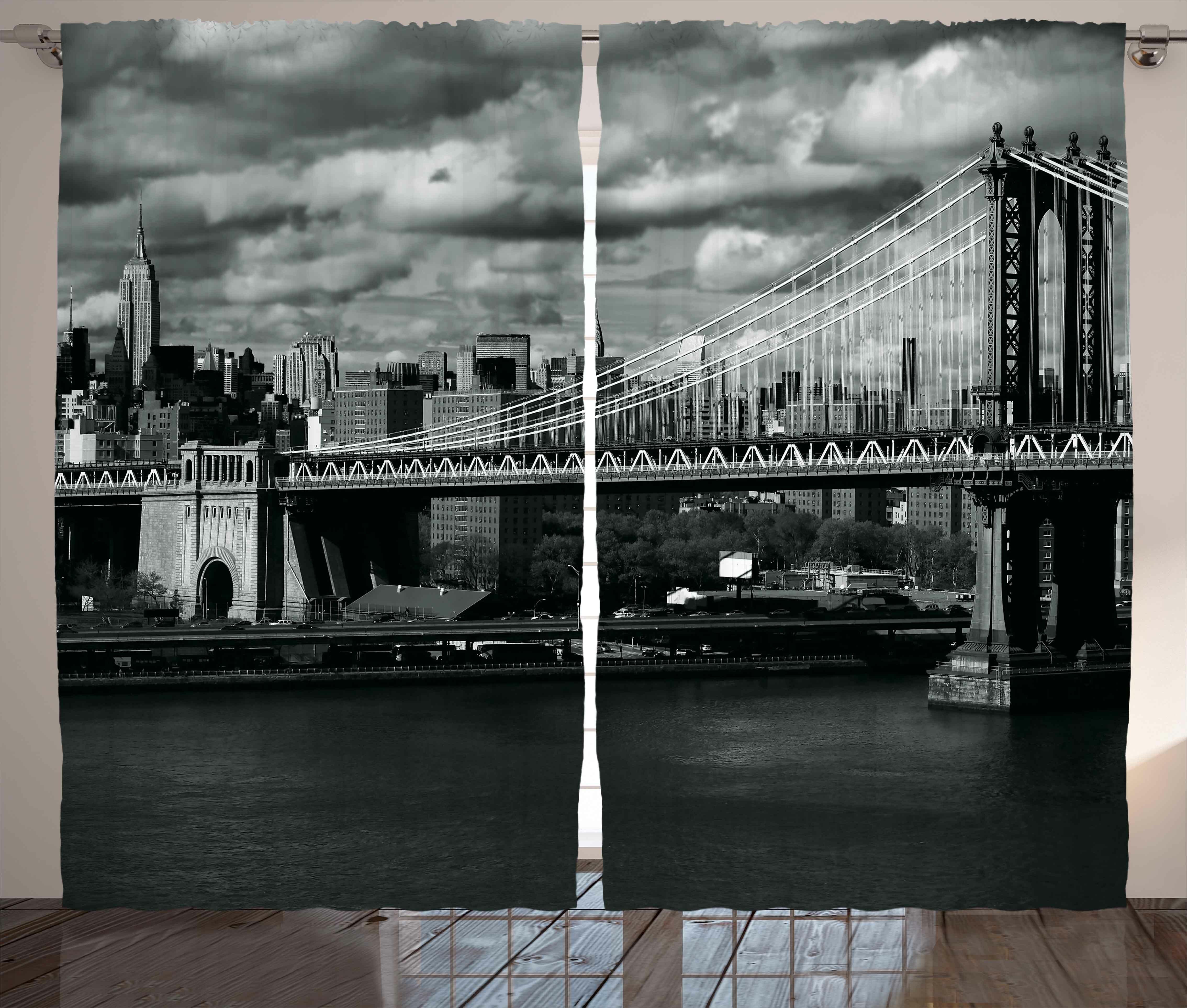 7f003de3883f New York Black and White Panorama of New York City Skyline with Focus on  Manhattan Bridge Photo Graphic Print & Text Semi-Sheer Rod Pocket Curtain  ...