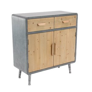 Tee Modern Rectangular Wooden 2 Door Accent Cabinet with 2 Top Drawers