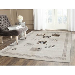 Bargain One-of-a-Kind Frese Gabbeh Oriental Hand-Knotted 5' x 7'3 Wool White Area Rug By Isabelline