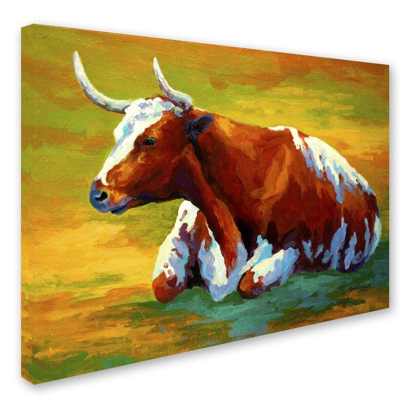 August Grove \'Longhorn Cow\' Print on Wrapped Canvas | Wayfair