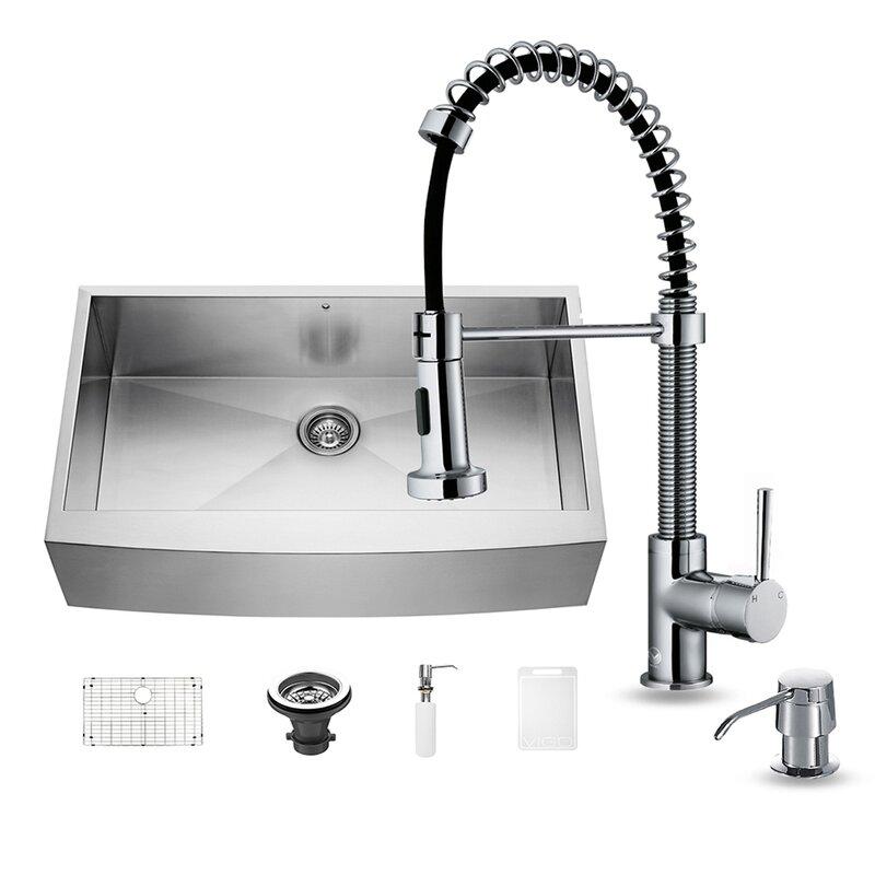 camden 36   x 22   farmhouse kitchen sink with sink grid     vigo camden 36   x 22   farmhouse kitchen sink with sink grid and      rh   wayfair com