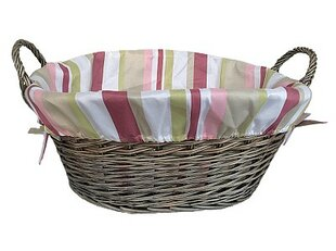 Wicker Laundry Basket with Striped Lining by Willow Direct Ltd