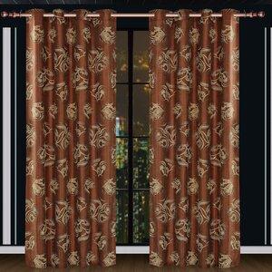 Dolce Mela Ceres Damask Blackout Thermalu00a0 Grommet Single Curtain Panel