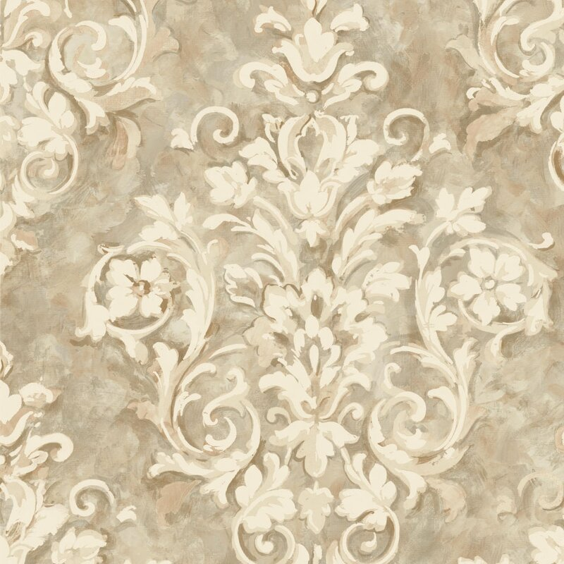 Metallic II 33 L X 205 W Damask Wallpaper Roll