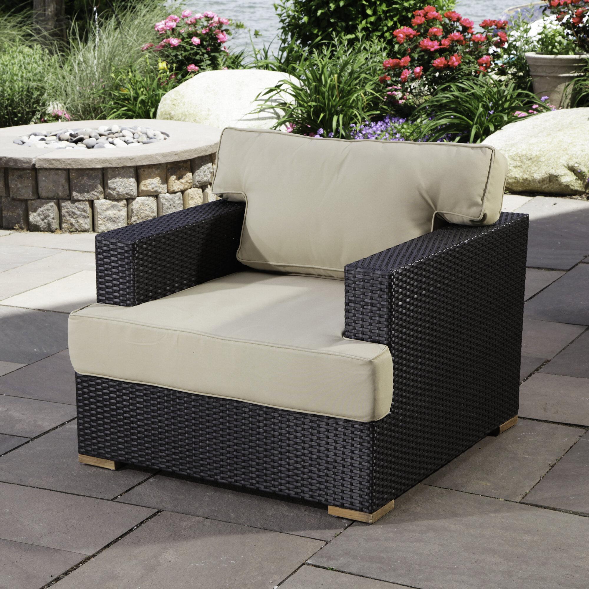 Madbury Road Salina Teak Patio Chair With Cushions Wayfair