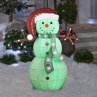 Colour Changing Frosted Snowman Lighted Display