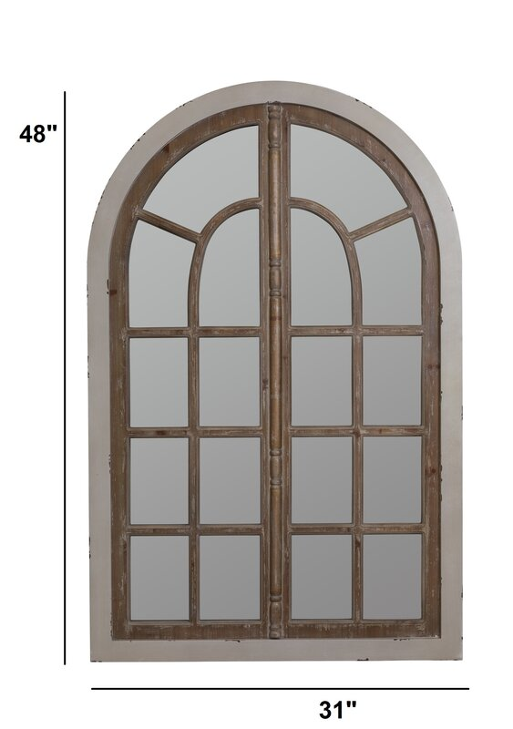 Wood arch window wall mirror reviews birch lane for Window arch wall decor