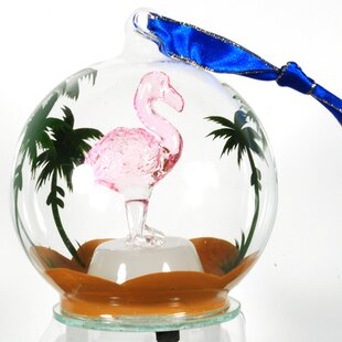 light up glass flamingo ornament