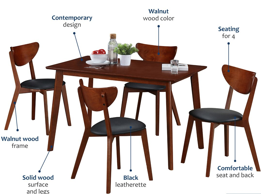 Bulgera Modern Wood 5 Piece Dining Set