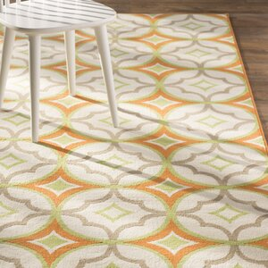 Bowman White/Orange Indoor/Outdoor Area Rug