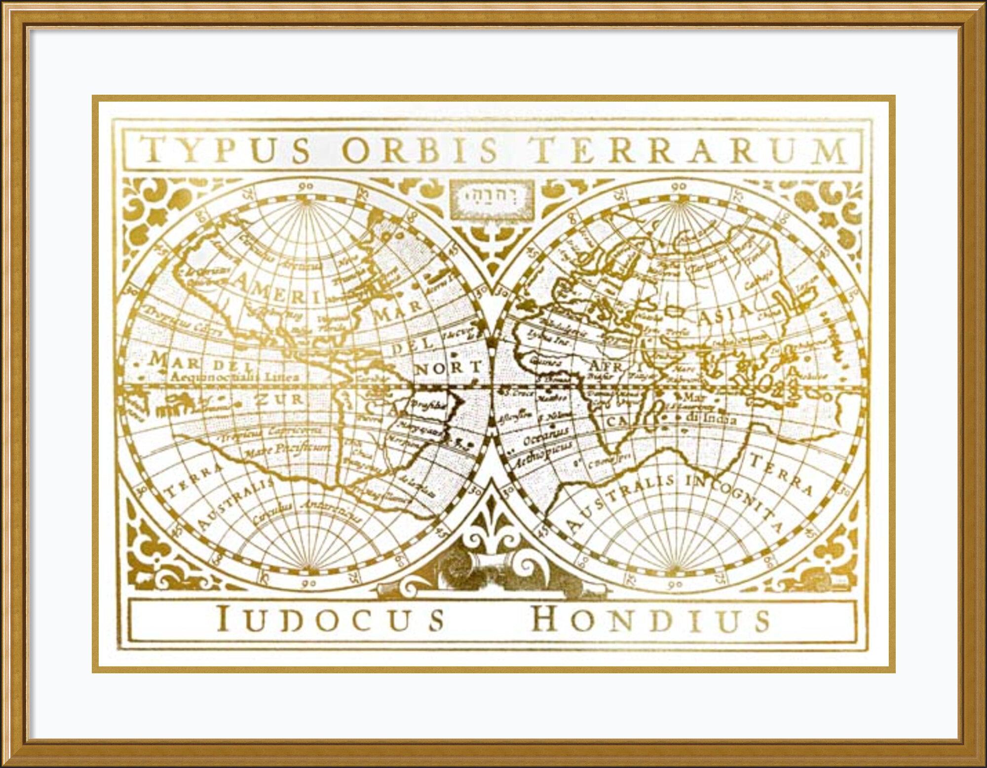 Gold Foil World Map Framed.Astoria Grand Gold Foil Vintage Map Framed Graphic Art Print On