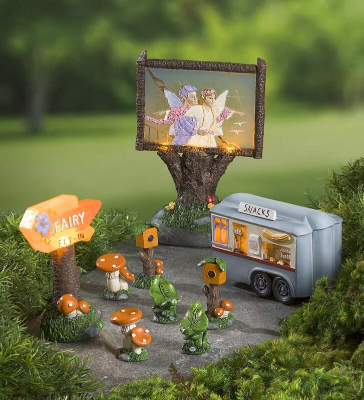Miniature Fly In Drive In Theater Fairy Garden Set