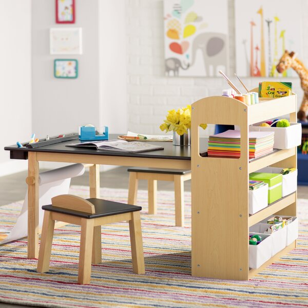 viv rae emilio kids rectangular arts and crafts table with stools reviews wayfair. Black Bedroom Furniture Sets. Home Design Ideas