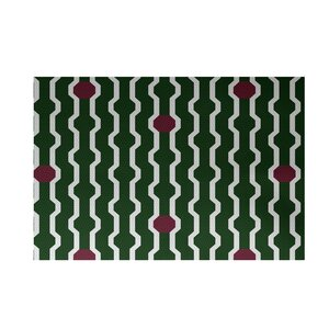 Uresti Decorative Holiday Geometric Print Green Woven Indoor/Outdoor Area Rug