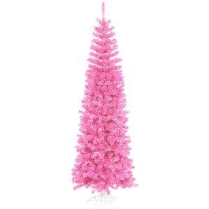 12 hot pink artificial pencil tinsel christmas tree with pink lights - Hot Pink Christmas Tree