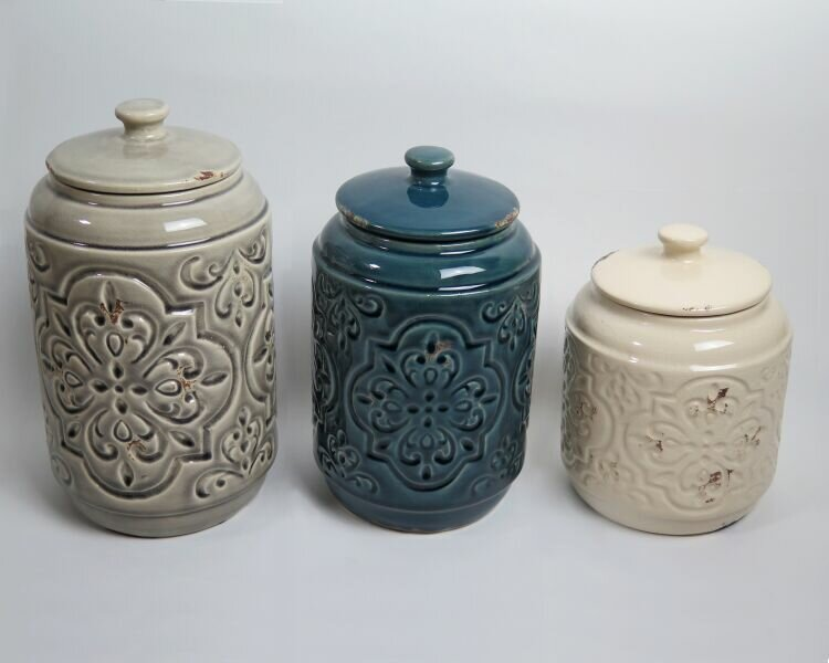 Drewderosedesigns rustic quilted 3 piece kitchen canister for Quilted kitchen set