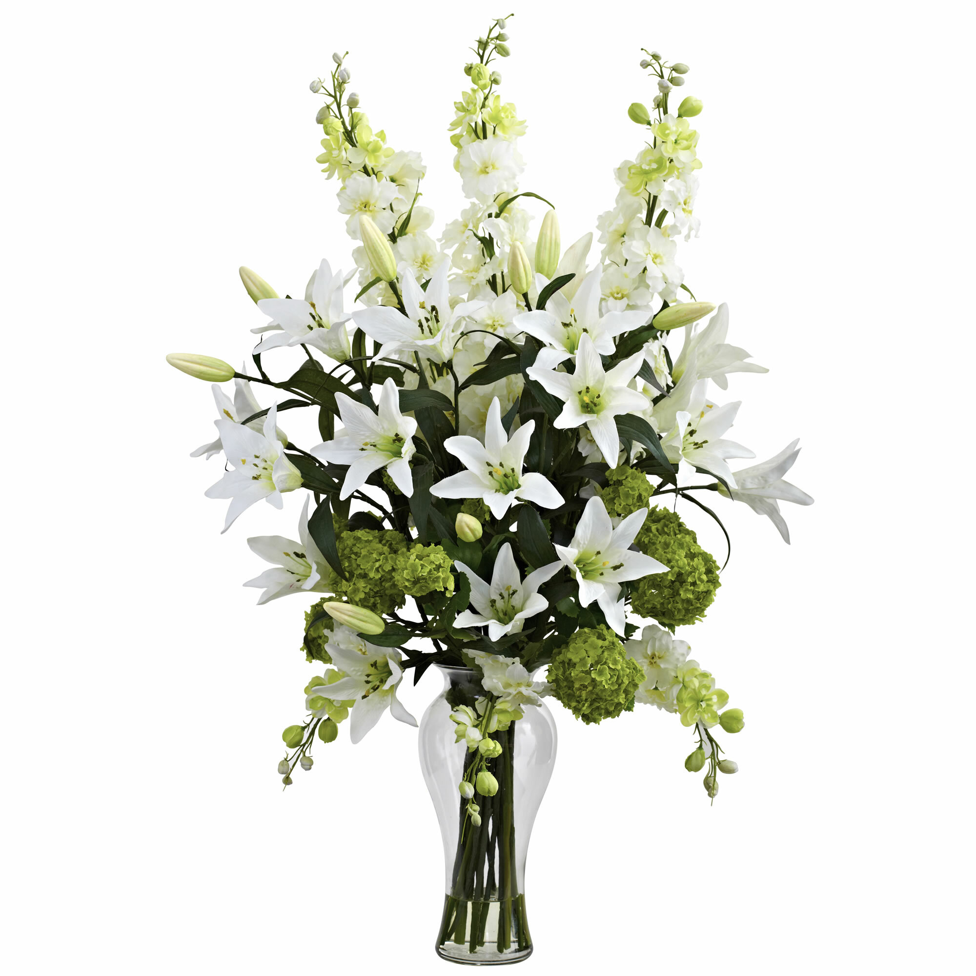 Nearly Natural Lily Delphinium And Hydrangea Silk Arrangement