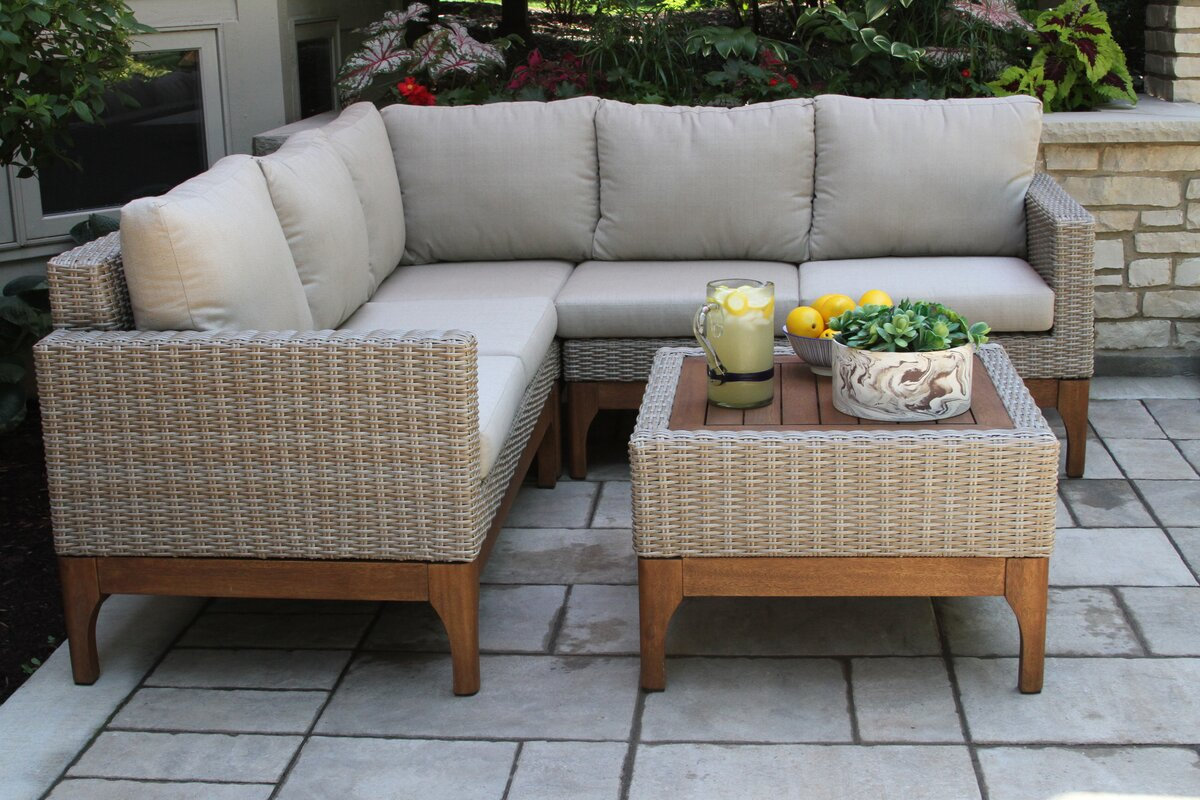 Mallie Eucalyptus And Wicker Sectional With Cushions