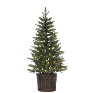 potted natural cut ontario green pine artificial christmas tree with stand - Potted Christmas Tree