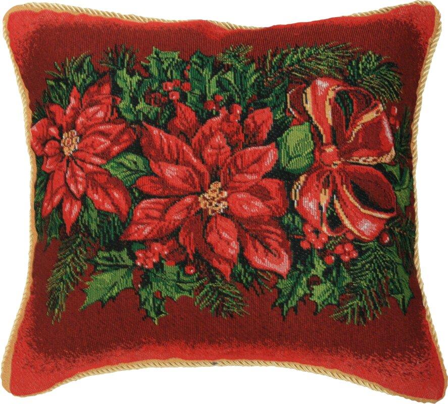 Christmas Poinsettia Design Throw Pillow
