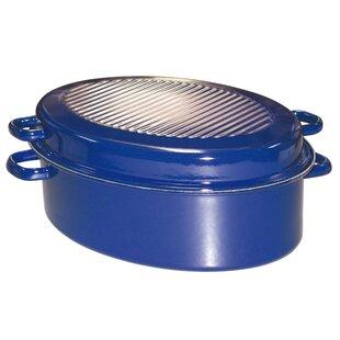 Oval Enamel Roaster In Cobalt Blue