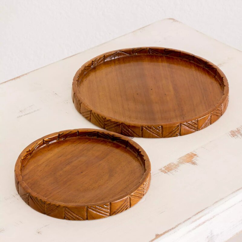 Notting Natural Circles Reverse Painted 2 Piece Wood Serving Tray Set