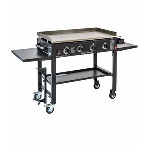 Cooking Station 4-Burner Propane Gas Grill with Side Shelves