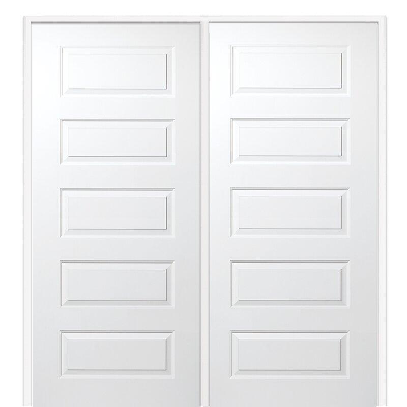 Verona Home Design Rockport Mdf 5 Panel Primed Prehung Interior Door