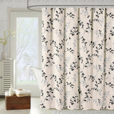 Bath Studio Meridian Printed Cotton Blend Single Shower Curtain Color: Charcoal
