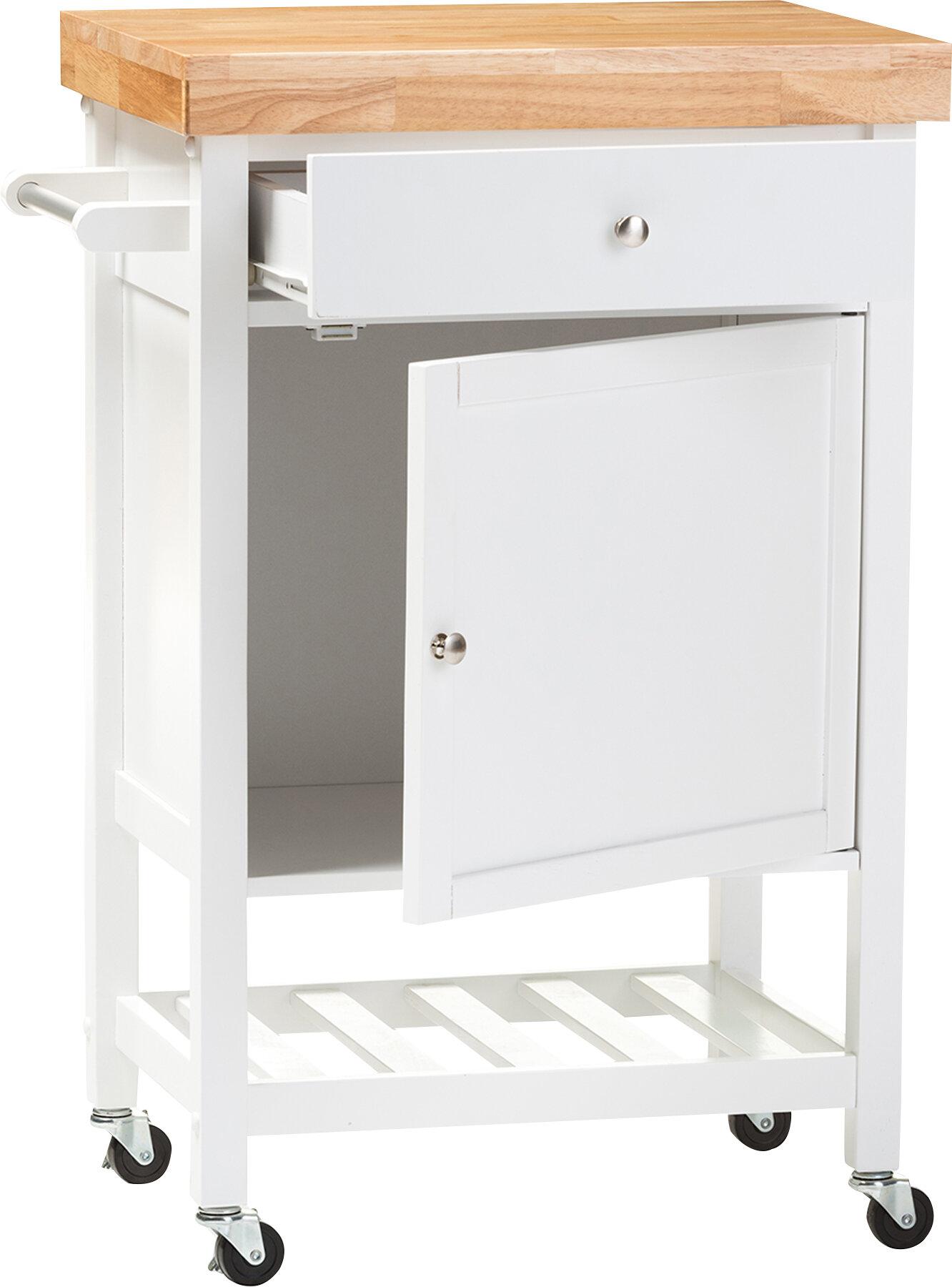 Lucrezia kitchen cart with wood top reviews allmodern