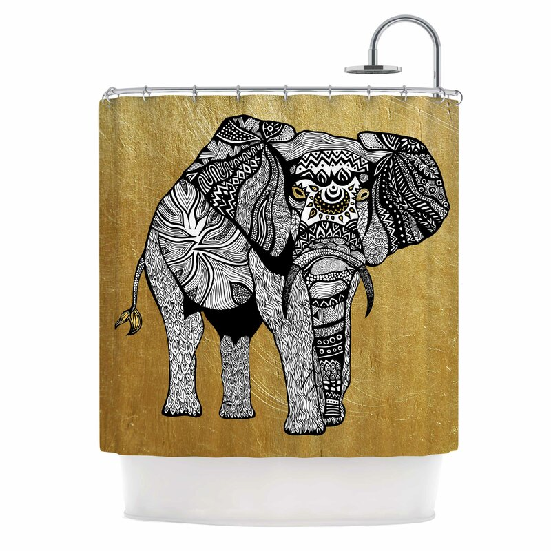 East Urban Home Golden Elephant Shower Curtain