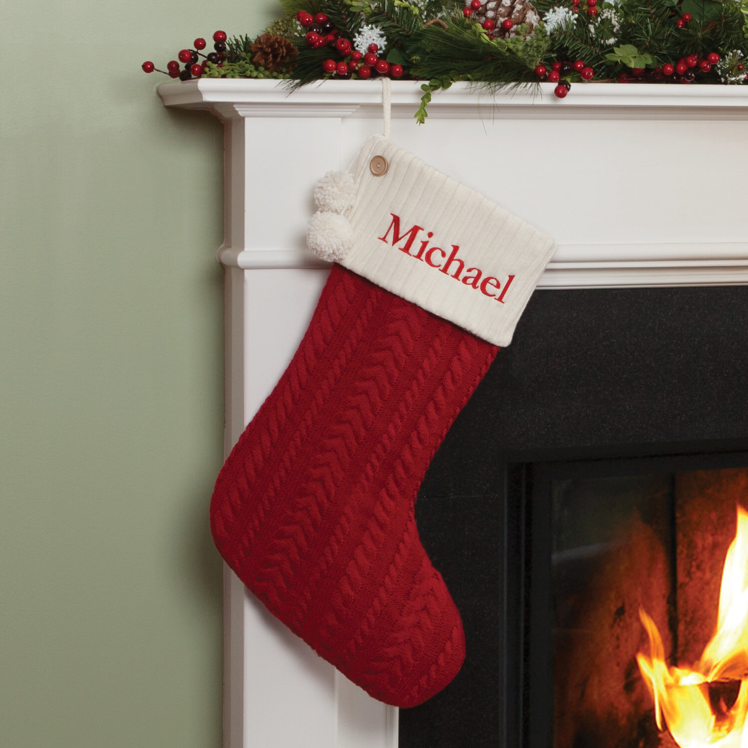 Cable Knit Christmas Stockings.Cable Knit Personalized Stocking