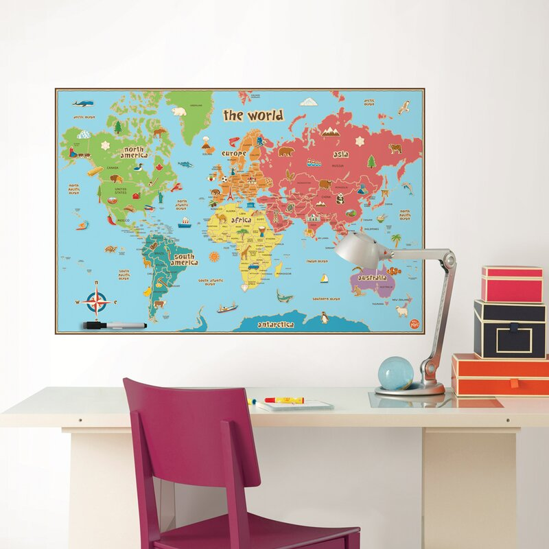 Kid Map Of Africa.Wallpops Kid S World Dry Erase Map Wall Stickers Reviews Wayfair