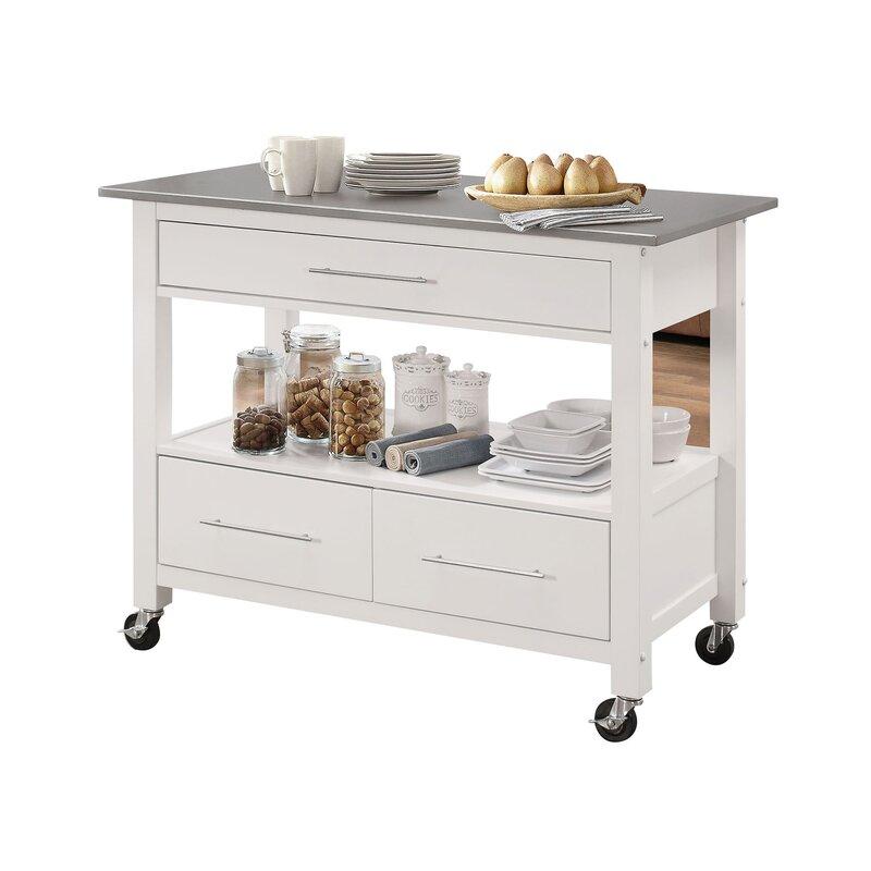 Monongah Rectangular Kitchen Cart with Stainless Steel Top & Reviews ...