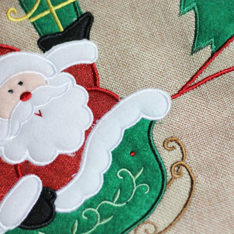 8071d847a Northlight Burlap Santa Claus in Sleigh Embroidered Christmas Tree ...