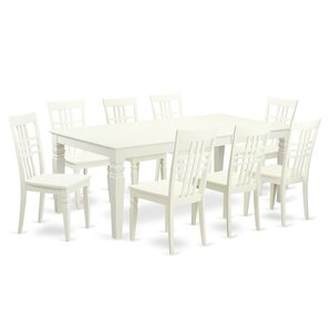 Beesley 9 Piece Linen White Wood Dining Set by Darby Home Co