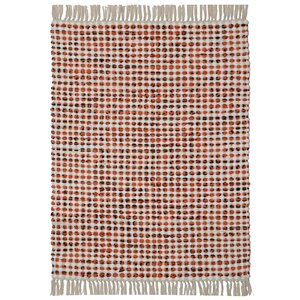 Complex Hand-Loomed Orange Area Rug