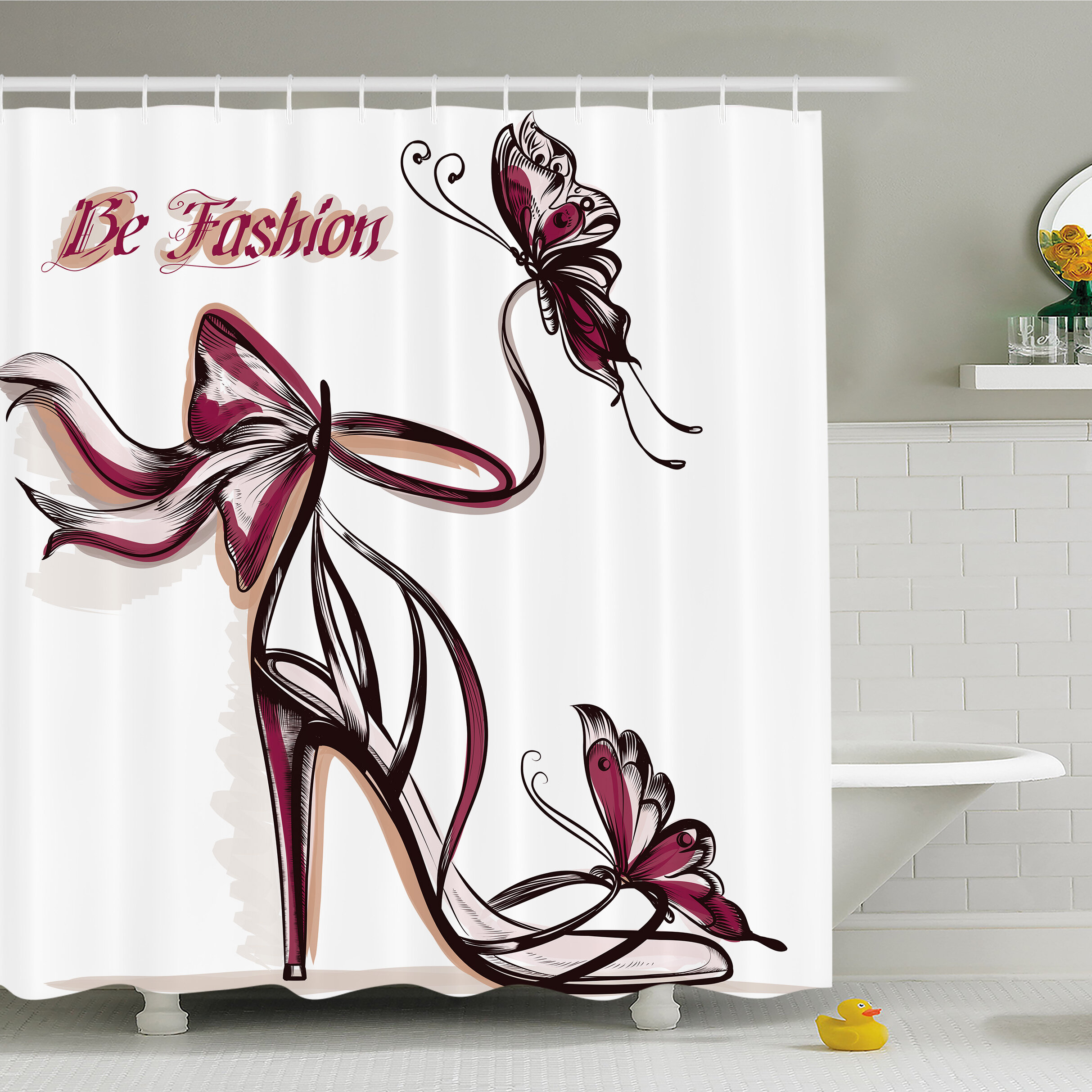 Ambesonne Fashion House High Heels With Butterfly And Ribbon Ornamentals Be Grace Spruceness Theme Shower Curtain Set