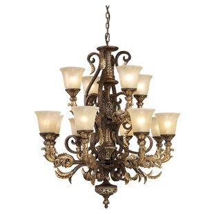 Hollywood regency chandelier wayfair regency 12 light shaded chandelier mozeypictures Choice Image