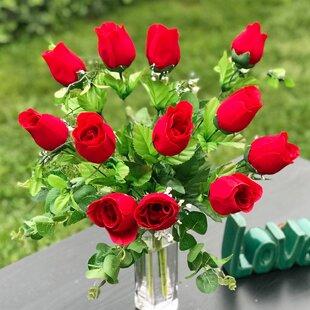 Artificial red roses in vase wayfair artificial red rose floral arrangement in vase mightylinksfo