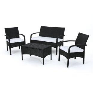 black wicker patio conversation sets you ll love wayfair rh wayfair com black wicker patio furniture target black wicker patio furniture with red cushions