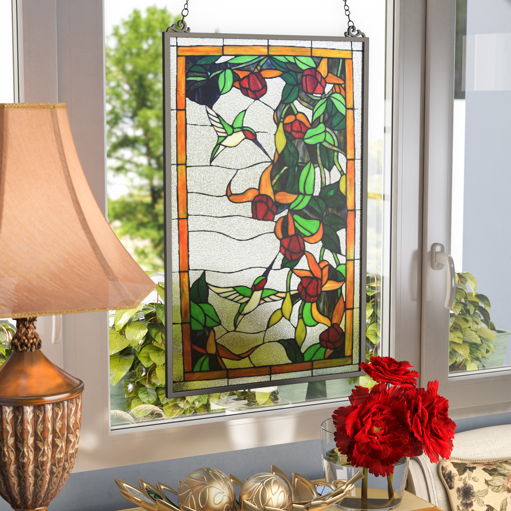 Astoria Grand Stained Glass Hanging Window Panel Reviews Wayfair