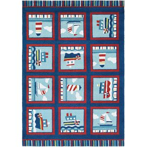 Welshire Hand-Woven Navy/Red-Ivory Indoor/Outdoor Area Rug