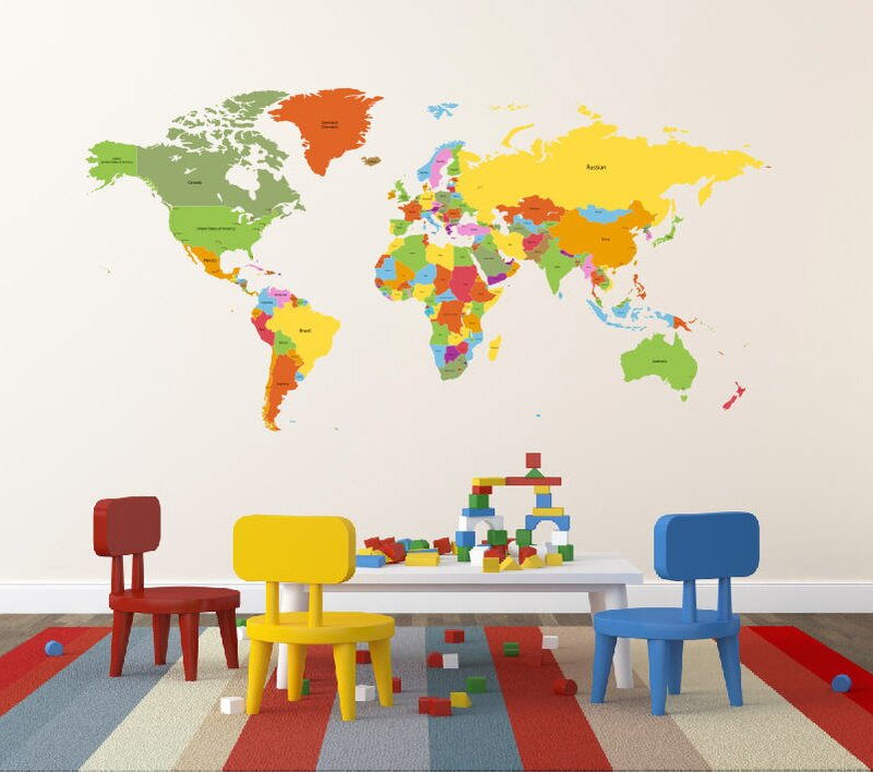 Educational World Map For Kids Room Wall Decal