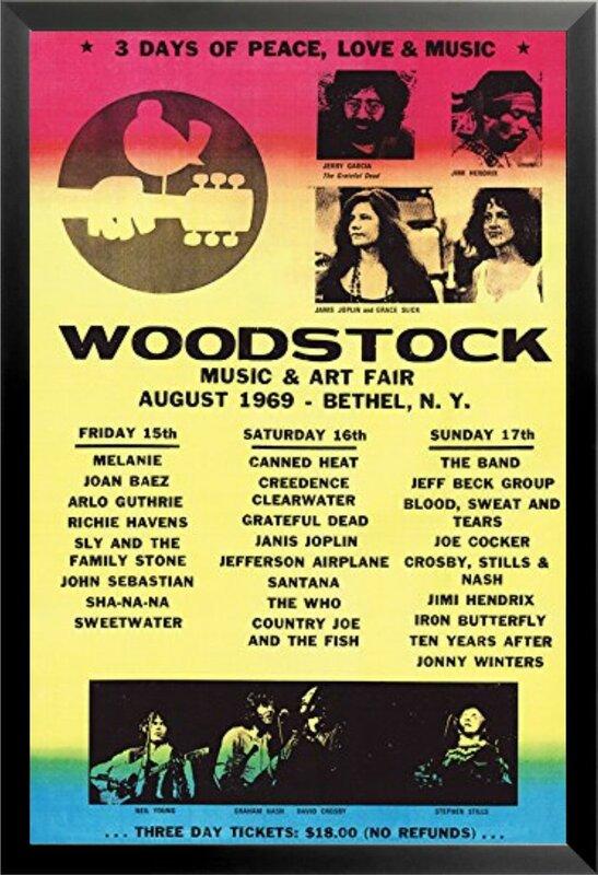 Buy Art For Less Woodstock Line Up 1969 Poster Framed
