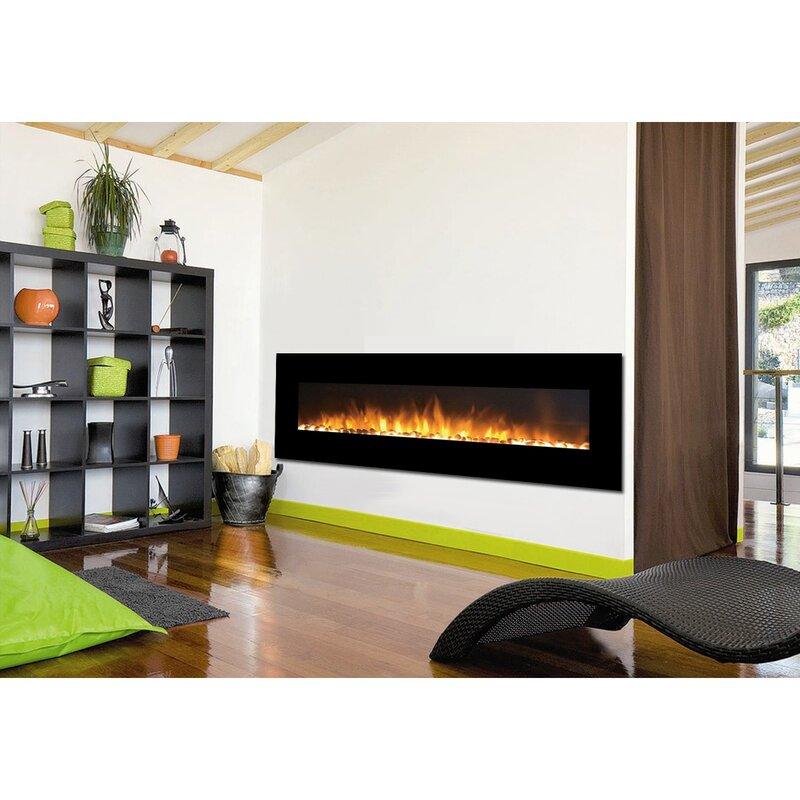 Electric Fireplace linear electric fireplace : Moda Flame Skyline Pebble Linear Wall Mount Electric Fireplace ...
