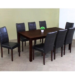 Etelvina 9 Piece Solid Wood Dining Set
