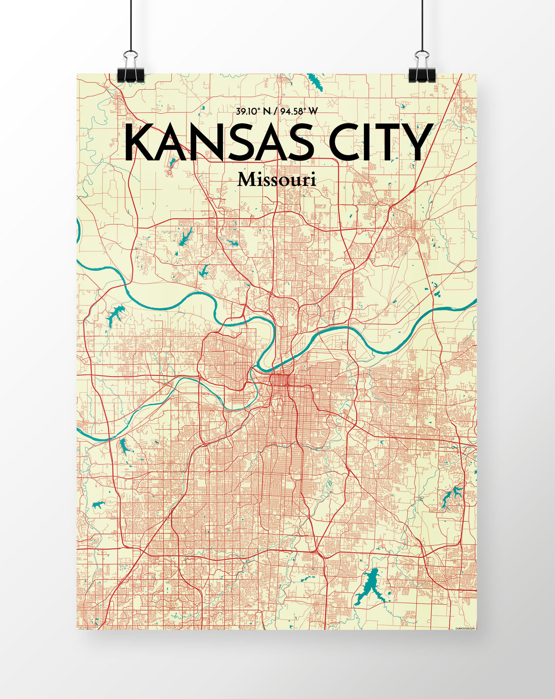 \'Kansas City City Map\' Graphic Art Print Poster in Beige